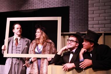 "Jayson Shanafelt (from left), Jayne Stevens, James Sharinghousen and Travis Nodurft in the Clackamas Repertory Theatre's production of ""39 Steps."""
