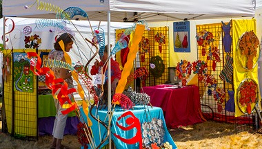 Artist Marta Farris will sell her colorful recycled metal sculptures and garden art at ArtBurst NorthWest, slated Aug. 2-3 at Marylhurst University.