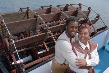 """Geoffery Simmons (left) as Joe and Carmen Brantley-Payne as Queenie in the Lakewood Theatre Company's production of """"Show Boat."""""""