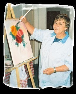 Judy Stubb, a painter for 11 years and a certified Bob Ross floral instructor, teaches the Bob Ross style of oil painting.