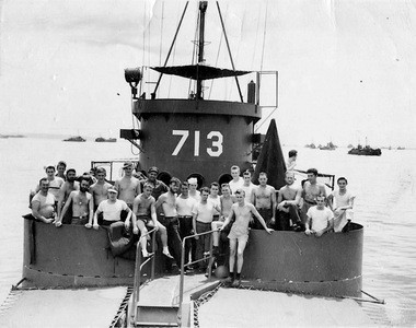 This photo of the LCI 713 is thought to have been taken in Philippine waters during World War II.