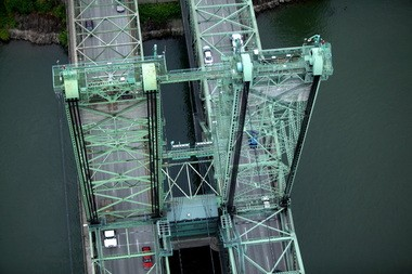 An aerial view of the I-5 bridge connecting Vancouver and Portland.
