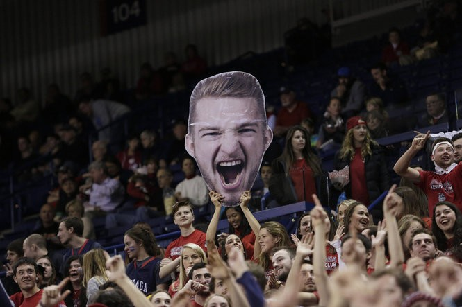 A Gonzaga fan holds a cutout of Domantas Sabonis before a game in Spokane in November. Sabonis is averaging 17.4 points and 11.5 rebounds this season as Gonzaga attempts to make the NCAA Tournament for the 18th consecutive year.