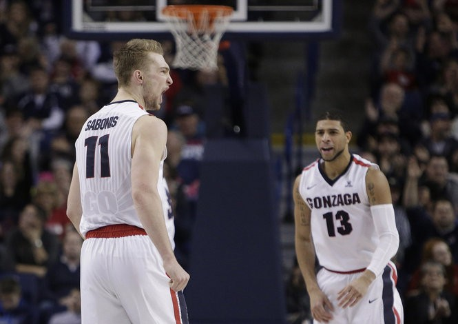 """We need more of it. The Domas yells, bigger celebrations and that fight, intensity is something (the team) definitely feeds off of,"" Gonzaga assistant coach Tommy Lloyd said of Sabonis, shown with teammate Josh Perkins (13) in January."