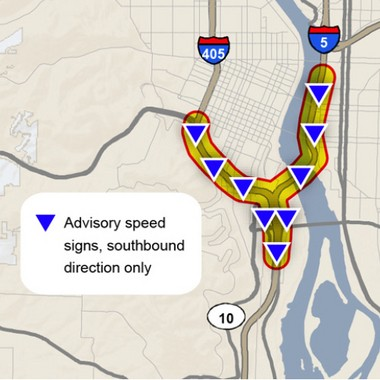 The locations of variable speed signs scheduled to go live in the Portland area on Thursday morning.