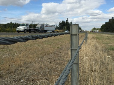 A cable barrier along I-5 in Oregon. ODOT says the location of the chain-reaction crash in which Steve Fritz was killed last week is the only section of freeway between Portland and Salem without such a guard to prevent head-on collisions.