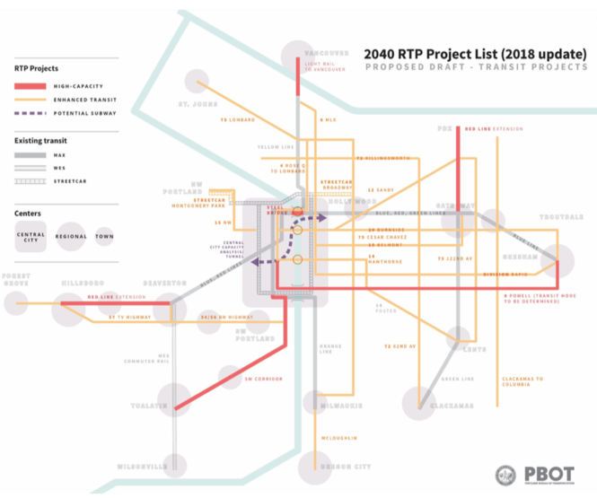 A map of proposed future transit projects in the city of Portland and beyond presented to the city's Planning and Sustainability Commission on Tuesday.
