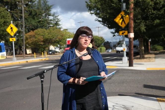 Commissioner Chloe Eudaly on Sept. 10, 2018 on 122nd Ave in Portland.