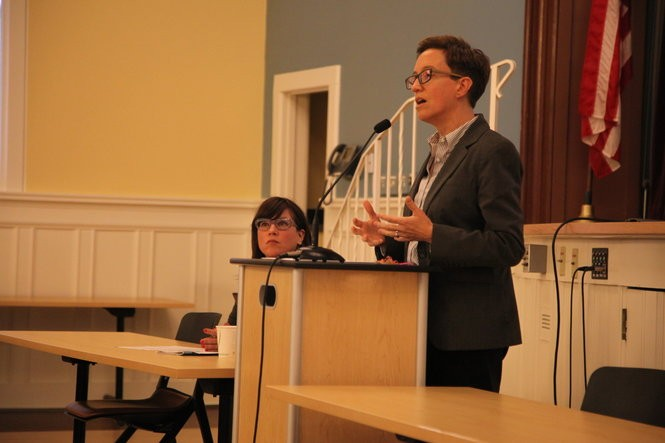 House Speaker Tina Kotek (right) and Portland City Commissioner Chloe Eudaly at a transportation town hall in North Portland Sept. 20, 2018.