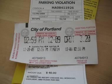 A Portland parking ticket