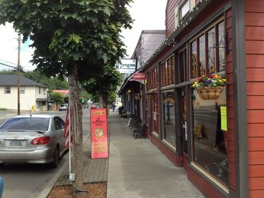 The Black Iron Grill in downtown Vernonia is just one of several businesses that have made themselves appealing to cyclists who roll through town.