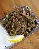 Okra chips with raita.