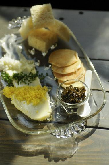 """The """"tsar nicolai select white sturgeon"""" caviar plate."""