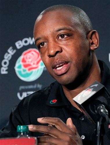 Stanford offensive coordinator Pep Hamilton during media session prior to last season's Rose Bowl.