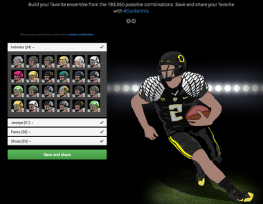 The Ducks have more than 783,000 uniform combinations.