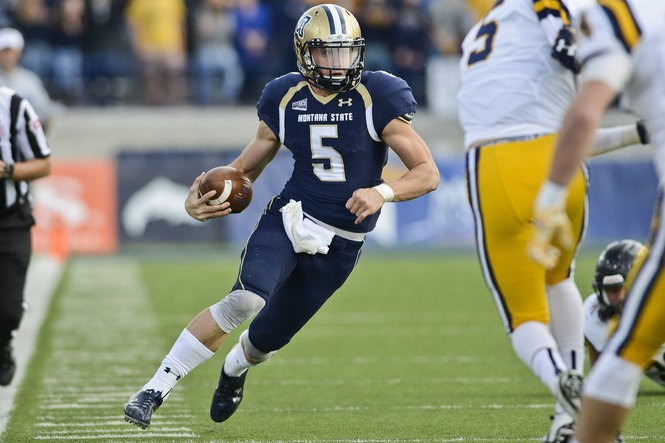 Montana State quarterback Dakota Prukop runs against East Tennessee State in October, two months before he became the hottest college football transfer, eventually choosing Oregon over Alabama.