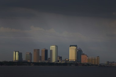 A photo of the skyline of Tampa, Fla., the site of this year's Women's Final Four, is hanging in the Oregon women's basketball locker room.