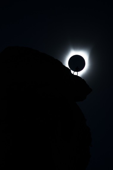 An outtake from Ted Hesser's photographs at Smith Rock State Park during the 2017 total solar eclipse shows how little margin for error he had. This frame was made about 30 seconds after an image that went viral.