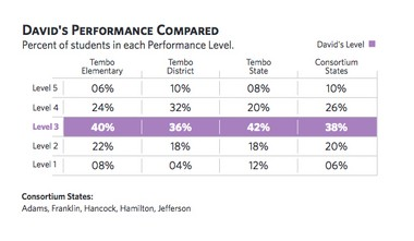 This is a sample student report about Smarter Balanced scores created by the pro-Common Core group Achieve.