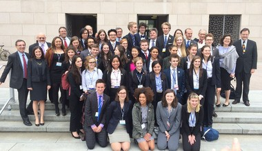 "The 34-member Grant High School ""We the People"" team poses for a group picture on steps of the U.S. Capitol in Washington, D.C., on Monday, the final day of competition."