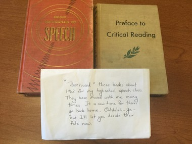 An unsigned note accompanied two books returned 52 years late to Portland State University's Branford Price Millar Library. Joan Petit, communications and outreach librarian, is grateful for their return and says the library no longer levies fines for overdue books.