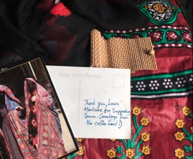 Lucia Martinez received two sataras, a traditional Yemeni garment worn by women in the Muslim-majority nation at the tip of the Arabian Peninsula.