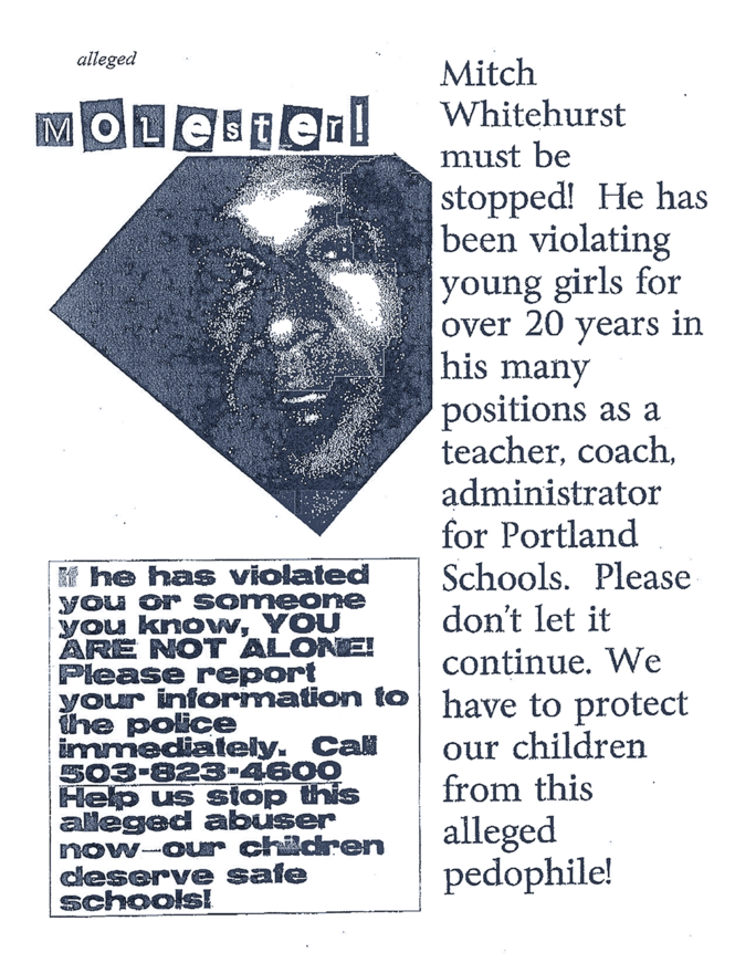 Poster distributed on the Jefferson High School campus and at Whitehurst's home in 2010.