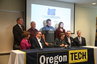 """Gov. Kate Brown, U.S. Rep. Suzanne Bonamici and others at the Oregon Institute of Technology for """"Day of Cyber."""""""