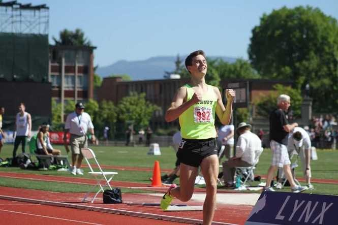 Joshua Schumacher wins the 6A 3,000-meter race at the 2017 state championships at Hayward Field.