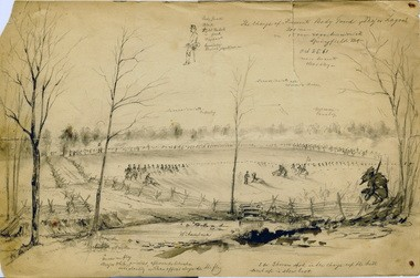 """Henri Love (American, b. Prussia, 1829-1875), """"Charge of Fremont's Bodyguard at Springfield, Missouri,"""" October 25, 1861, graphite and ink on wove paper, 9 x 14""""."""