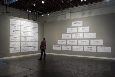"""Installation shot of Critical Art Ensemble's """"Acceptable Losses"""" at PNCA.Credit: Mack McFarland. The work appears courtesy of the Feldman Gallery + Project Space at PNCA."""