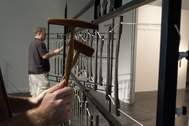 """Close-up of the """"Soundforge"""" installation at the Museum of Contemporary Craft."""
