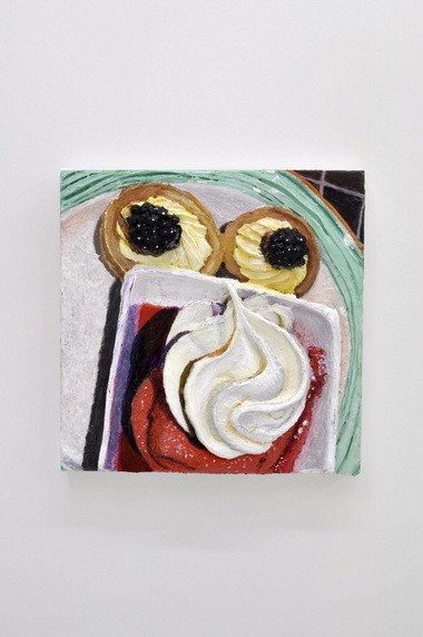 "Gina Beavers, ""Breakfast at the Casino,"" 2013, acrylic and pumice on canvas, 16 x 16 inches. Photograph by Evan La Londe, Courtesy of Clifton Benevento, New York"
