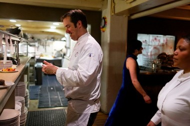 Chef Thomas Boyce in the kitchen at Bluehour.