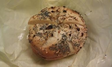 An everything bagel with cream cheese from Rescue Bagel.