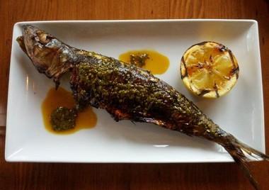 The charmoula-marinated sardine with roasted lemon at Southeast Portland's Levant.