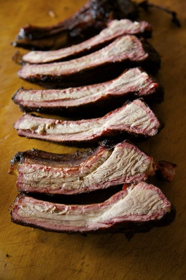 The namesake item from Pine Shed Ribs, a top Oregon barbecue pit in an unlikely location: Lake Oswego. Note the lovely bark and pink smoke ring, two hallmarks of excellent barbecue.