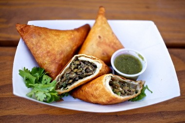 Crisp yet chewy lentil sambusas with green chile-lime sauce from Dalo's, a new cart from the owners of North Portland's Dalo's Ethiopian Kitchen.