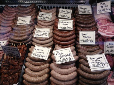 The nose-to-tail approach to cooking at Old Salt Marketplace guarantees that there always will be an array of sausages available in the meat case.