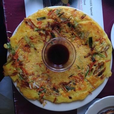 Pindaettok, a Korean vegetable pancake