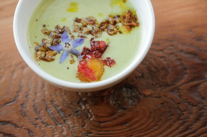 Chilled zucchini and buttermilk soup at Mae