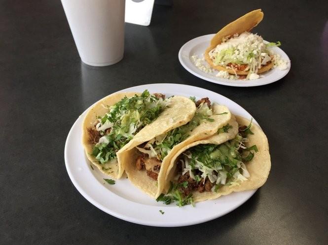 Campechano (steak and chorizo mixed) tacos made on Taqueria Kopitos' housemade tortillas.