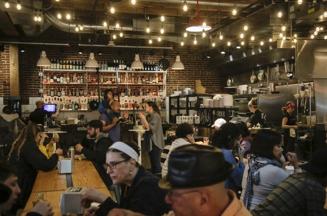 A typical crowd at downtown Portland's Pine Street Market.