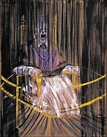 Bacon's 1953 Study after Velázquez's Portrait of Pope Innocent X shows a distorted version of the Portrait of Innocent X painted by Spanish artist Diego Velázquez in 1650