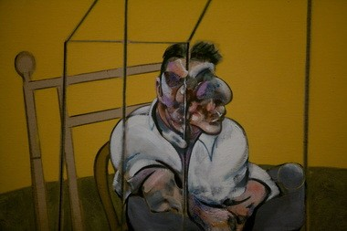 """Detail from the left panel of Bacon's """"Three Studies of Lucian Freud."""""""
