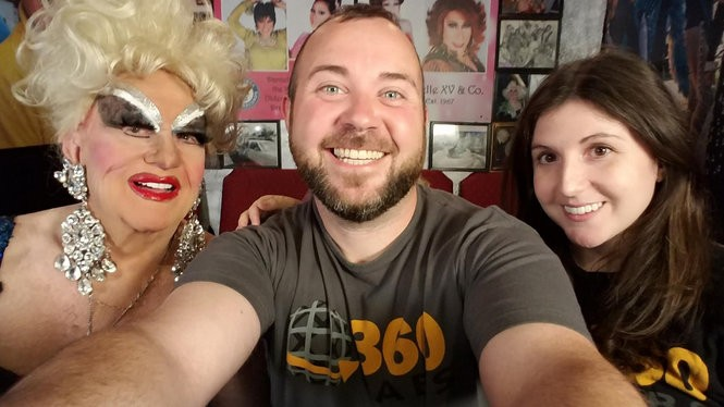 """Portland drag queen Darcelle with 360 Labs filmmakers Brad Gill and Rachel Bracker, the directors of """"Through Darcelle's Eyes."""" (Darcelle XV Showplace)"""