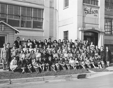 """The 1944 photo of the Gibson workforce that started John Thomas down the path to """"Kalamazoo Gals."""""""