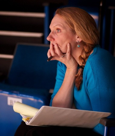 """Portland playwright Sue Mach, preparing for a double opening night, watches rehearsal for """"The Lost Boy"""" at Artists Repertory Theatre."""