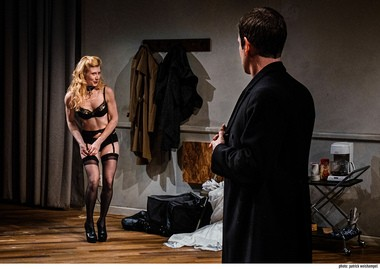 "The hunter gets captured by the game? Ginny Myers Lee and David Barlow engage in dress-up and other forms of play in David Ives' comedy ""Venus in Fur,"" at Portland Center Stage."