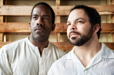 "Don Kenneth Mason (left) and Ben Newman play two brothers torn apart by racial assumptions in Profile Theatre's ""Blood Knot."""